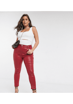 ASOS DESIGN Curve Ridley high waist skinny jeans in red coated
