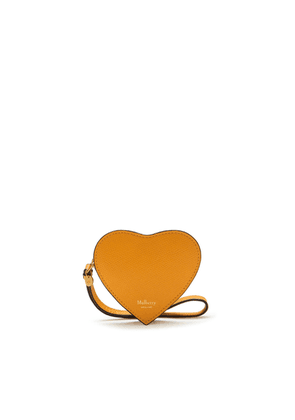 Mulberry Heart Coin Zip Purse in Deep Amber Small Printed Grain