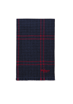 Mulberry Reversible Tri Check Scarf in Navy and Scarlet Lambswool
