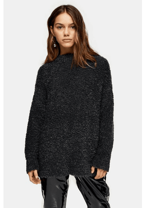 Womens Petite Charcoal Grey Knitted Boucle Longline Jumper - Charcoal, Charcoal