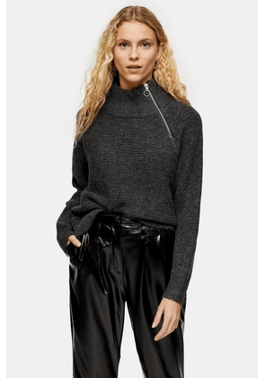 Womens Charcoal Grey Knitted Zip Side Funnel Neck Jumper - Charcoal, Charcoal