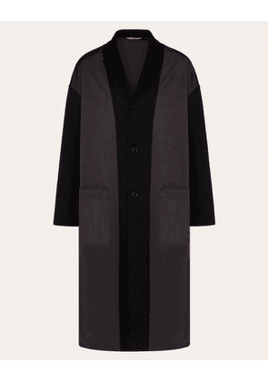 Valentino Uomo Coat In Double-layer Wool Man Black Polyester 100% 44