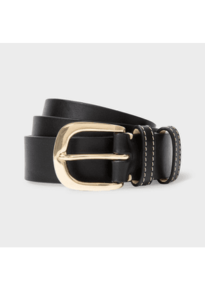 Women's Black Leather Belt With Quote Detail