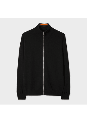Men's Black Cashmere Zip-Through Cardigan