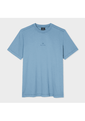 Men's Light Blue 'PS' Logo Cotton T-Shirt