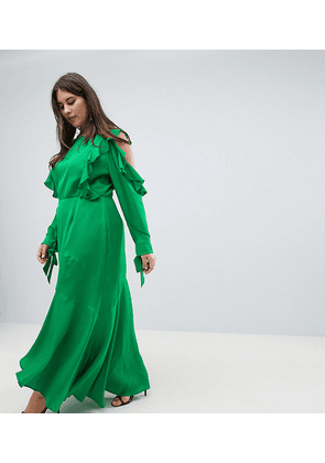 ASOS DESIGN Curve ruffle sleeve maxi dress with cold shoulder-Green