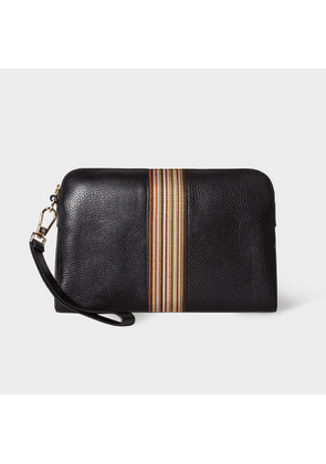 Men's Black Leather Signature Stripe Zip Pouch