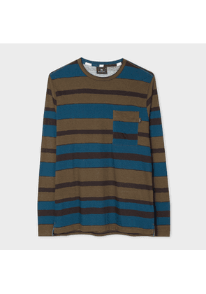 Men's Khaki And Teal 'Hand-Drawn Stripe' Print Long-Sleeve T-Shirt