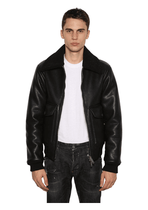 Aviator Bomber Jacket W/faux Shearling