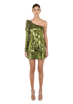 Sequined Asymmetrical Mini Dress