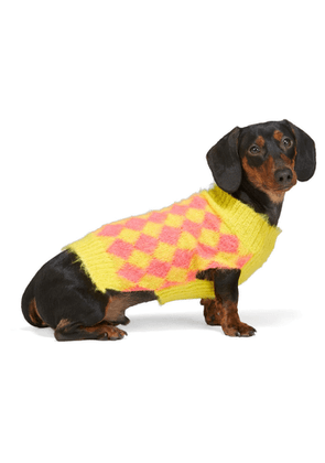Ashley Williams SSENSE Exclusive Yellow and Pink Dog Sweater