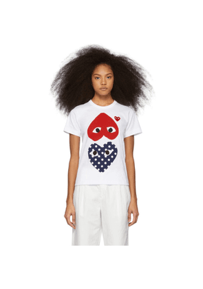Comme des Garcons Play White and Red Polka Dot Hearts T-Shirt