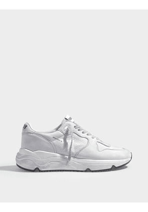 Running Sole Sneakers in White Nubuck Leather