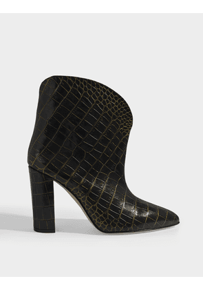 Ankle Boots in Black and Gold Croc Embossed Leather