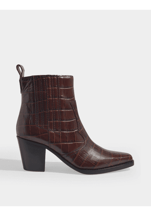 Western Ankle Boots in Brown Croc Embossed Calf Leather
