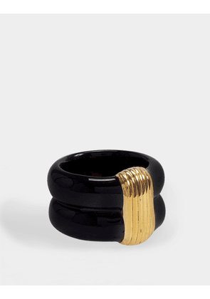 Katt Ring in Gold-Plated Brass and Black Bakelite