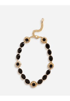 Dolce & Gabbana Bijoux - SHORT RHINESTONE NECKLACE WITH DECORATIVE DETAILS GOLD