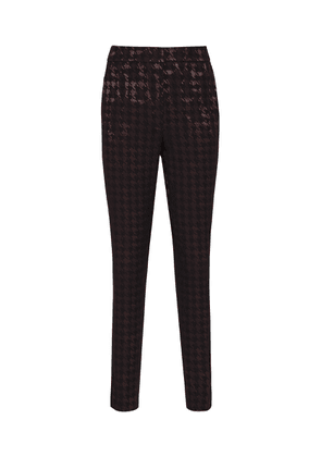 Reiss Laura - Houndstooth Check Trousers in Black/burgundy, Womens, Size 4
