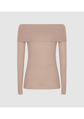 Reiss Tima - Off-the-shoulder Knitted Top in Nude, Womens, Size S