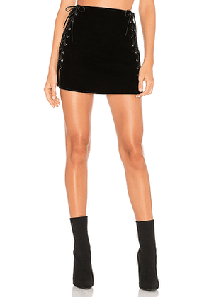 by the way. Luna Velvet Lace Up Mini Skirt in Black. Size M.