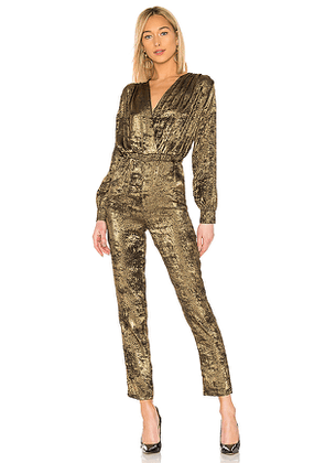 L'Academie The Sheila Jumpsuit in Metallic Gold. Size M.