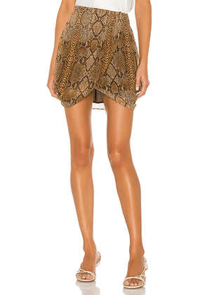 L'Academie The Jenny Mini Skirt in Brown. Size XL.