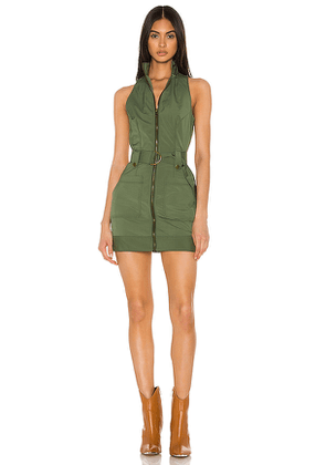 superdown Sofia Belted Mini Dress in Olive. Size S.