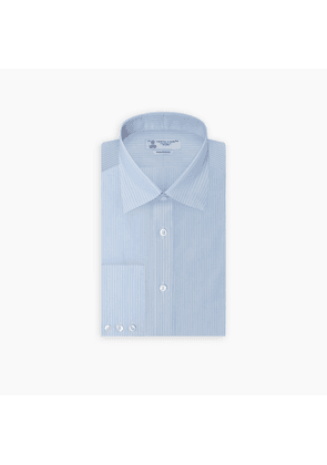 Tailored Fit Light Blue and White Pinstripe Shirt with Bury Collar.