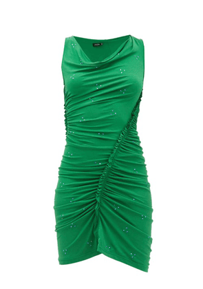 Atlein - Ruched Crystal-embellished Crepe Dress - Womens - Green