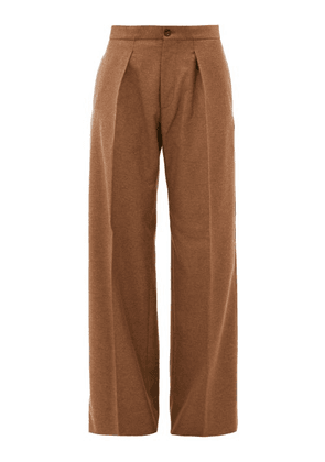 Connolly - Pleated Wide-leg Felted-twill Trousers - Womens - Camel