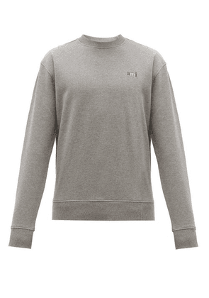 Ami - Tricolour Logo-embroidered Cotton Sweatshirt - Mens - Grey