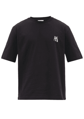 Ami - Logo-embroidered Cotton-jersey T-shirt - Mens - Black