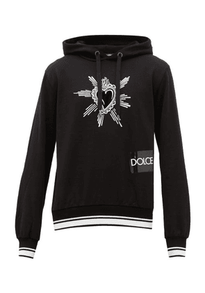 Dolce & Gabbana - Velvet Heart-embroidered Cotton Hooded Sweatshirt - Mens - Black
