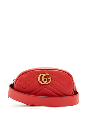 Gucci - Gg Marmont Quilted-leather Belt Bag - Womens - Red