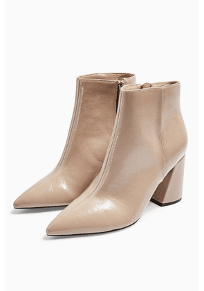 Womens Hackney Taupe Pointy Patent Boots - Taupe, Taupe