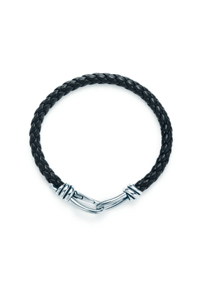 Paloma Picasso® Knot single braid bracelet of black leather and silver, large
