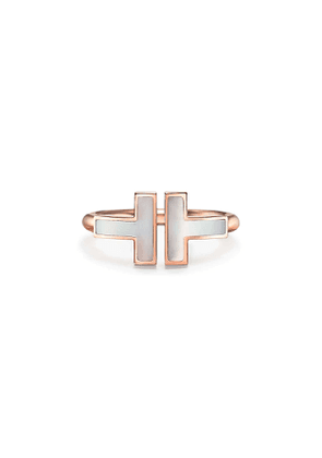 Tiffany T mother-of-pearl square ring in 18k rose gold - Size 4 1/2