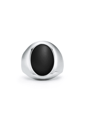 Signet ring in sterling silver with black onyx - Size 6