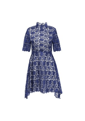 Catherine Deane Jeanne Fluted Guipure Lace Mini Dress Woman Royal blue Size 6