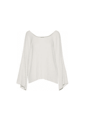 Elizabeth And James Draped Ribbed-knit Top Woman Ivory Size XS