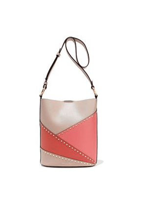 Donna Karan Adan Studded Color-block Leather Bucket Bag Woman Taupe Size --