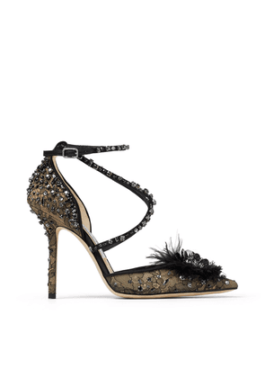 ODETTE 100 Black Lace Wraparound Heels with Feather and Crystal embellishment