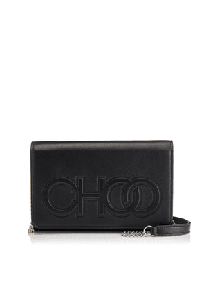 SONIA Black Nappa Leather Day Bag with Chain Strap