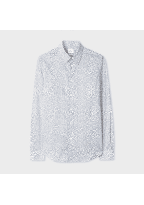 Men's Tailored-Fit White 'Pollen Ditsy' Print Cotton Shirt
