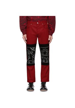 Etudes Red Keith Haring x MTA Edition Corner Canvas Trousers