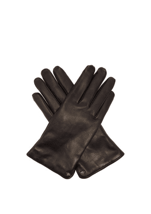 Gucci - Bee-motif Leather Gloves - Mens - Black