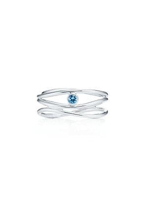 Elsa Peretti® Wave three-row ring in sterling silver with an aquamarine - Size 6