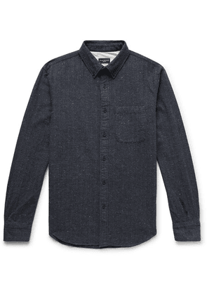 Club Monaco - Slim-fit Button-down Collar Herringbone Slub Cotton-blend Shirt - Midnight blue