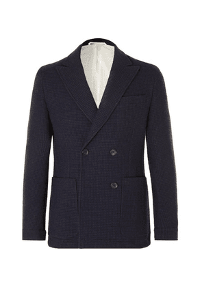 Oliver Spencer - Navy Onslow Unstructured Double-breasted Basketweave Wool And Cotton-blend Blazer - Navy