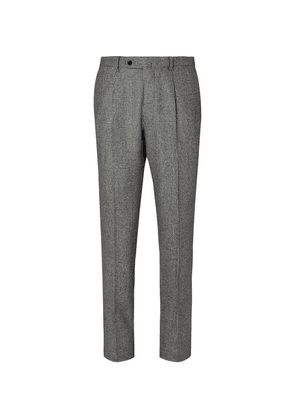 Beams F - Black Slim-fit Prince Of Wales Checked Super 100s Wool Suit Trousers - Black